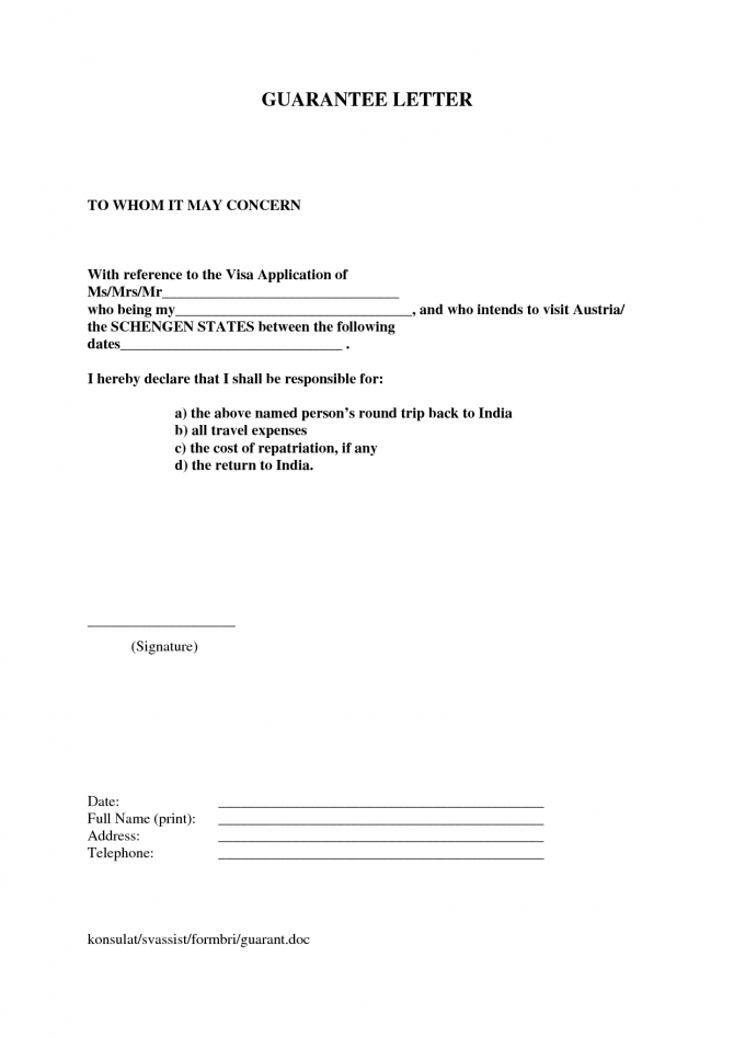 Letter Financial Guarantee Letter For Visa Sample Templatevisa