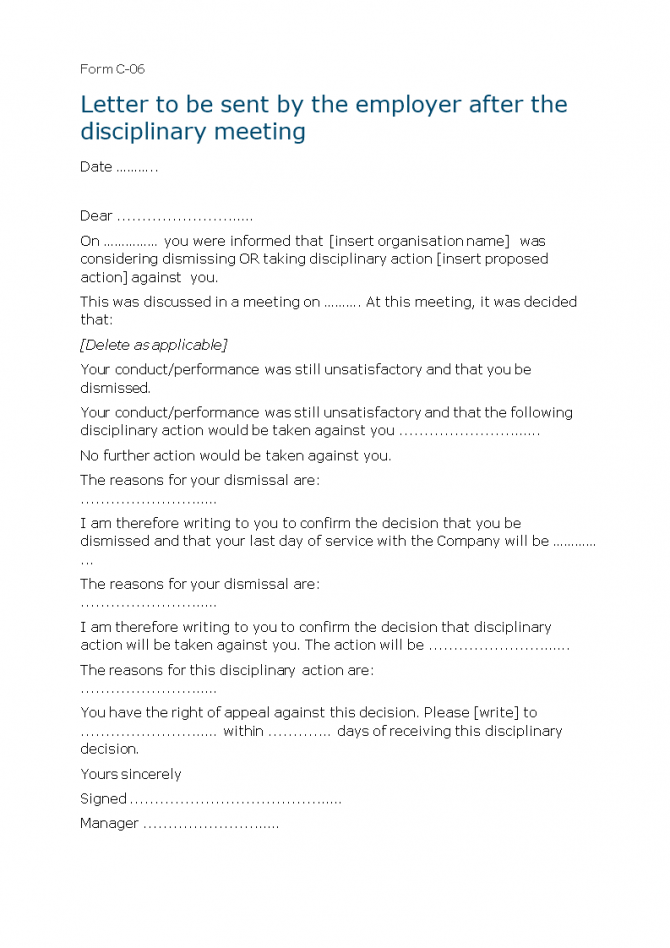 Letter Of Employee Disciplinary Action Meeting