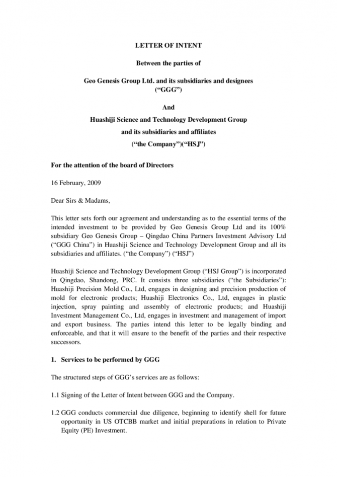 Letter Of Intent For Business Partnership Template