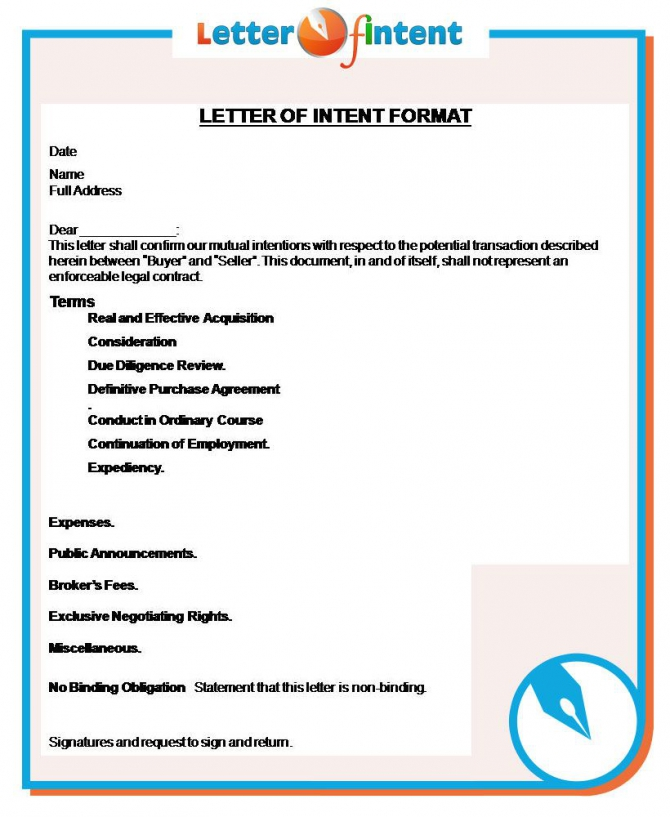 Letter Of Intent Format Httpwwwletter