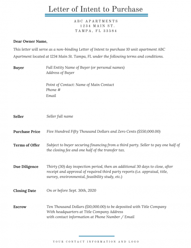 Letter Of Intent In Commercial Real Estate