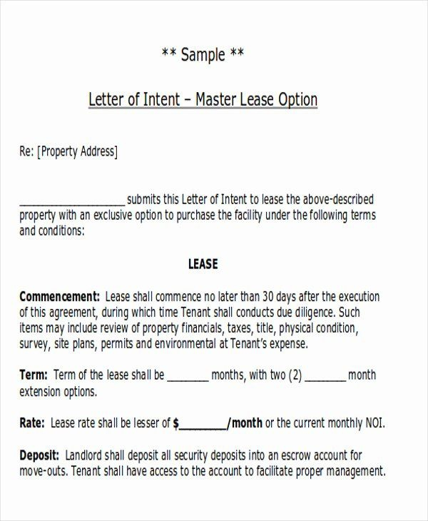 Letter Of Intent Lease Template Elegant  Sample Lease Proposal