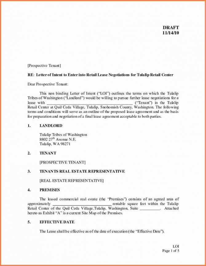 Letter Of Intent Lease Template In