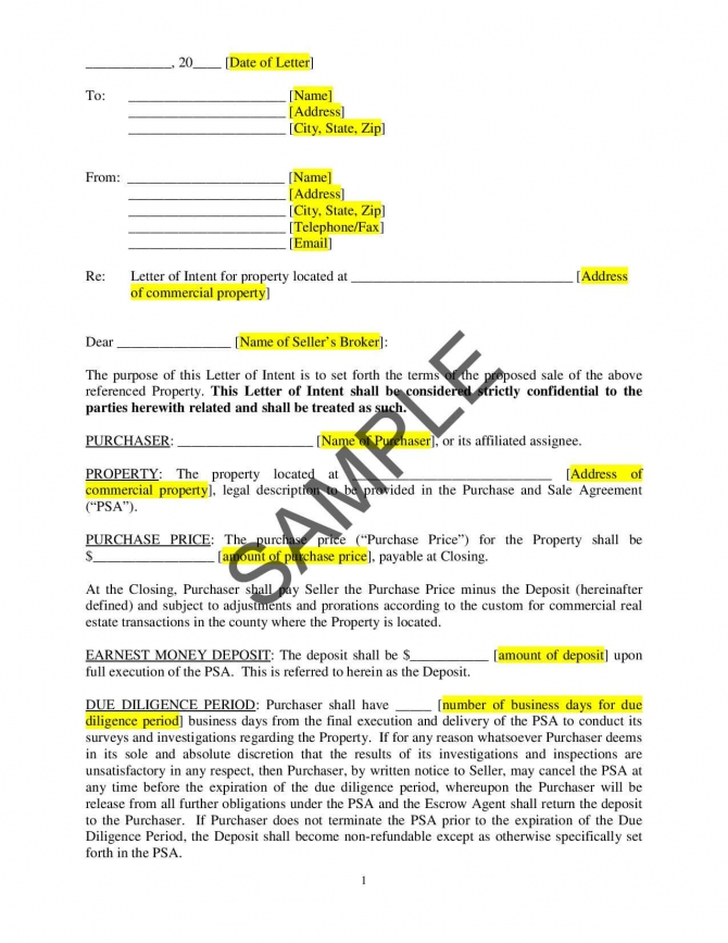 Letter Of Intent To Buy Commercial Property
