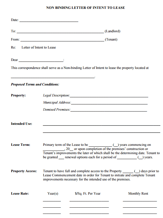 Letter Of Intent To Lease Templates