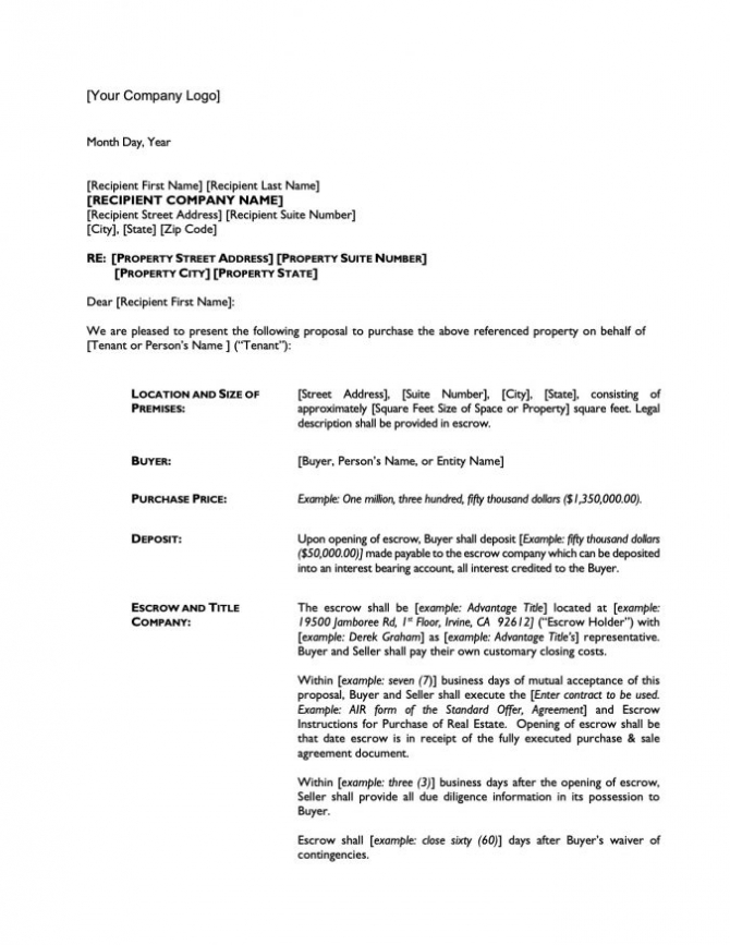 Letter Of Intent To Purchase Commercial Real Estate Pdf   Word