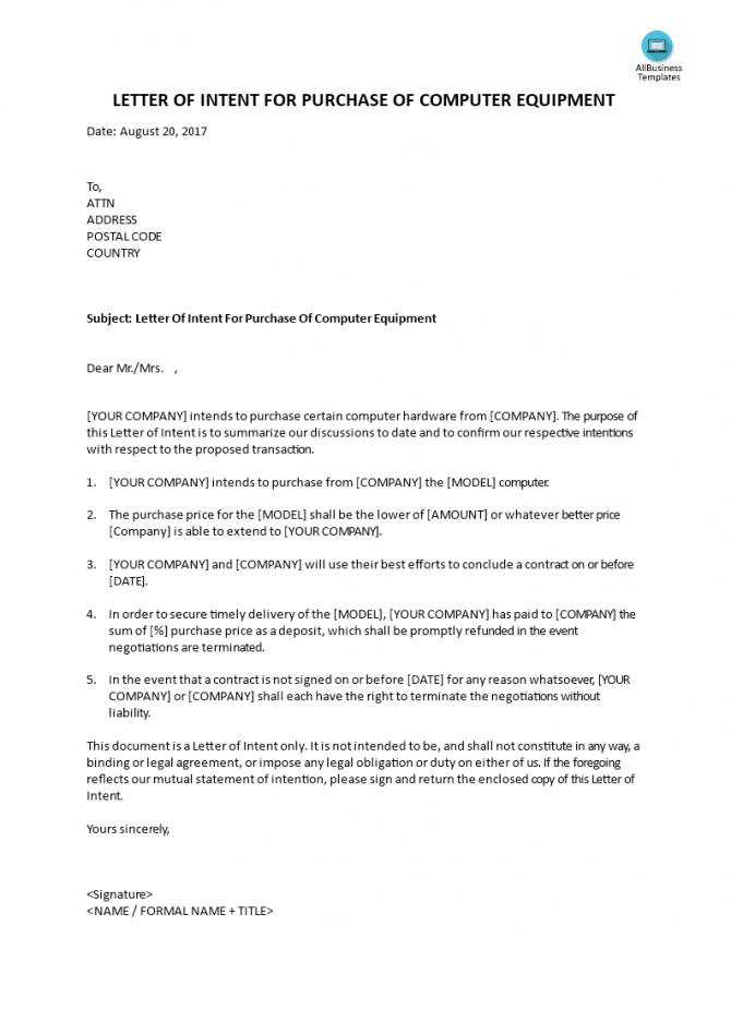 Letter Of Intent To Purchase Computer Equipment