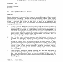 Letter Of Intent To Purchase Product