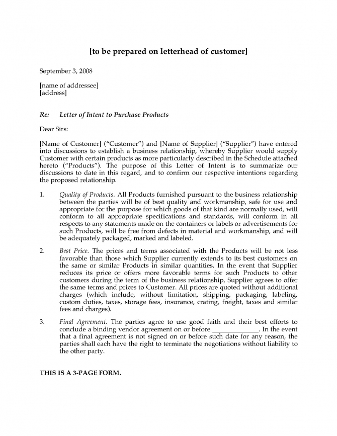 Letter Of Intent To Purchase Products