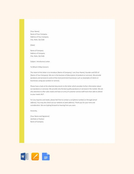 Letter Of Introduction Templates