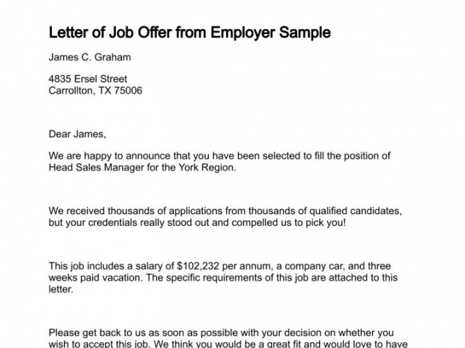 Letter Of Job Offer