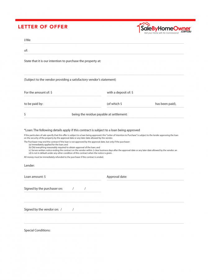 Letter Of Offer Form