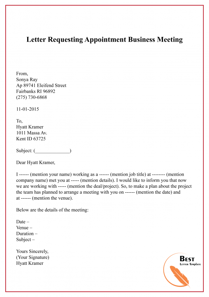 Letter Requesting Appointment Business Meeting