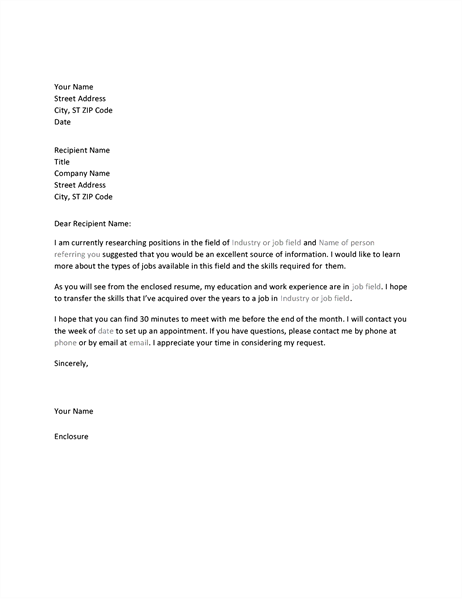 Letter Requesting Informational Interview