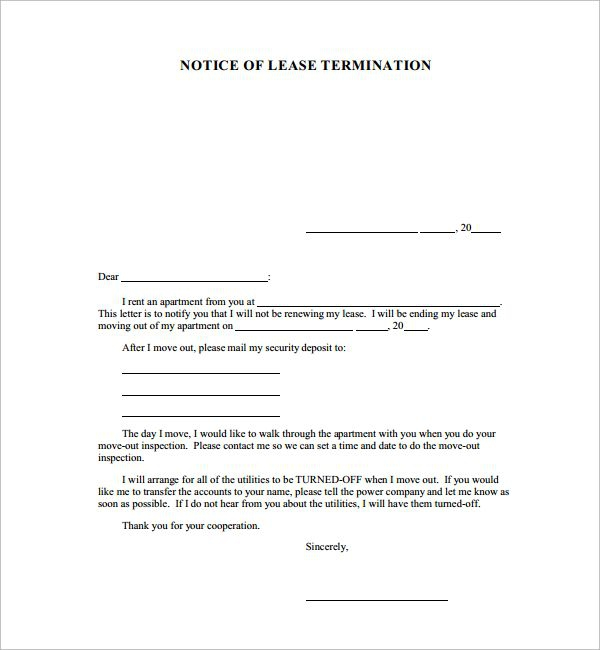 Letter Sample Cancel Contract Template Service Termination