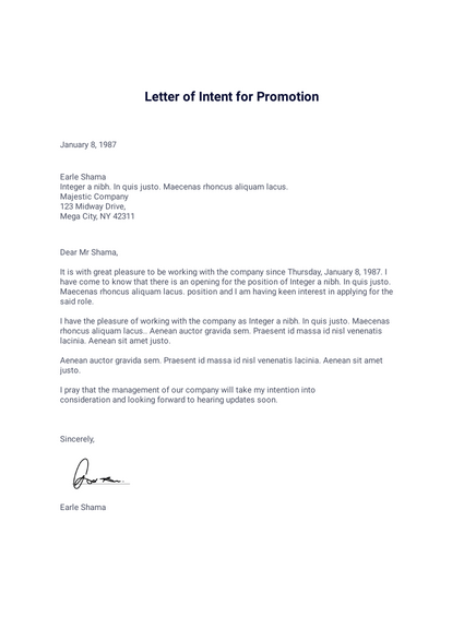 Letter To Manager For Promotion