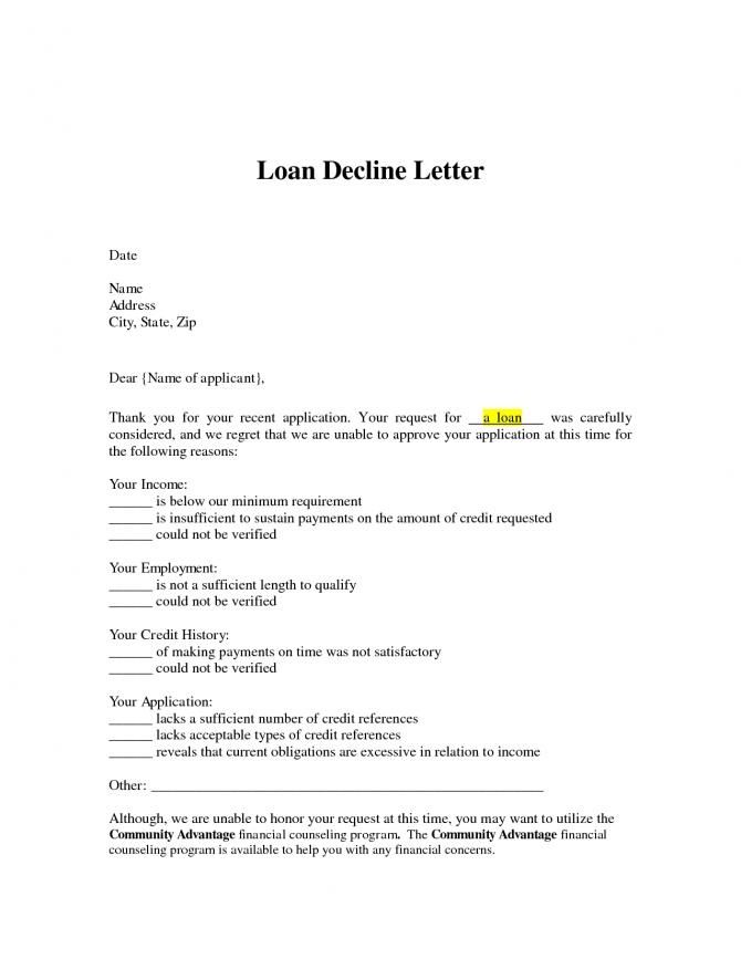 Loan Decline Letter