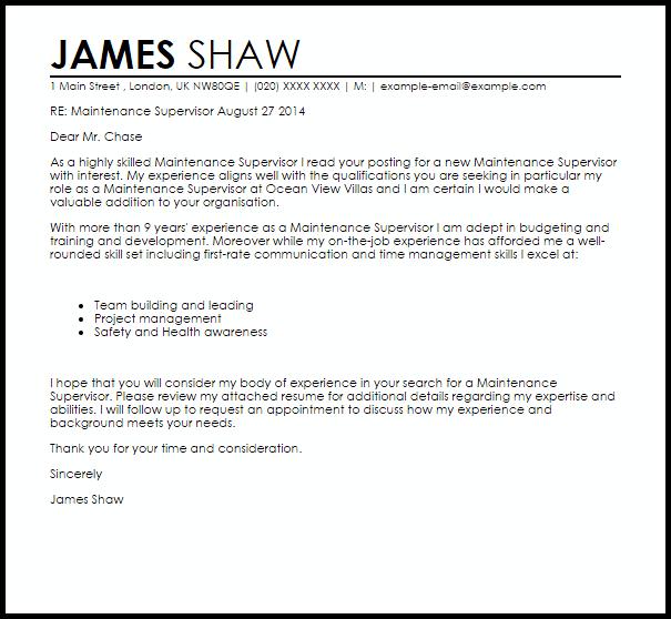 Maintenance Supervisor Cover Letter Sample