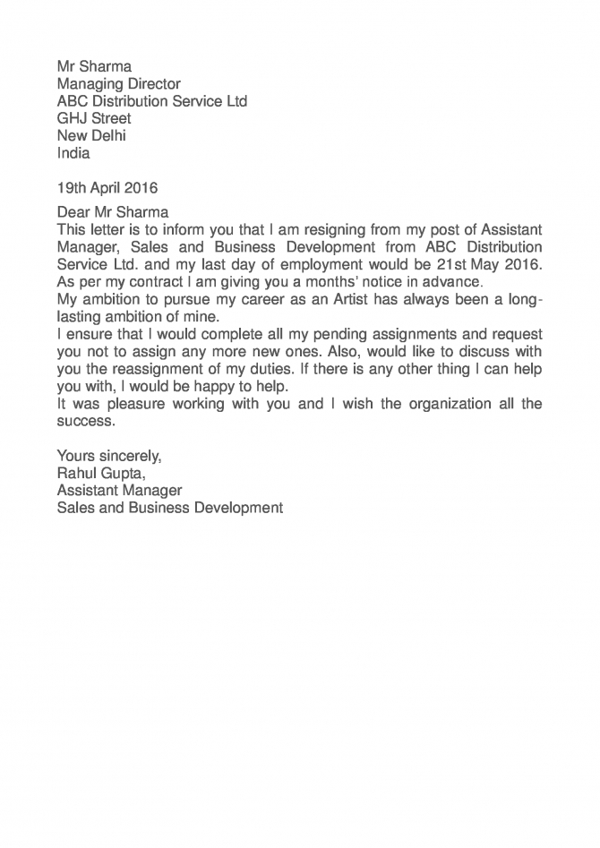 Manager Resignation Letter Examples