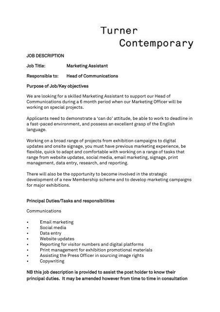 Marketing Assistant Job Vacancy
