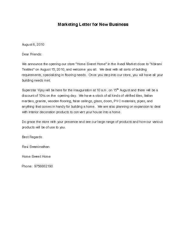 Marketing Letter For New Business