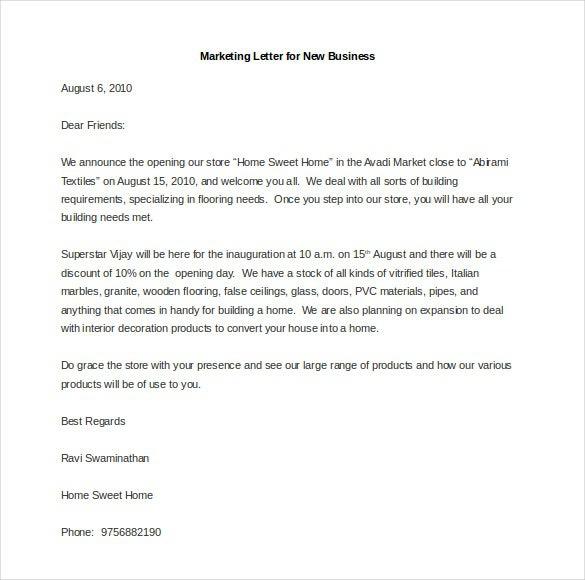 Marketing Letter Template
