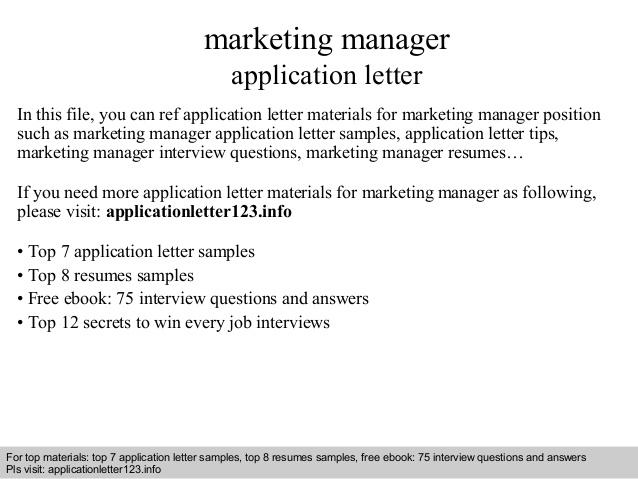 Marketing Manager Application Letter