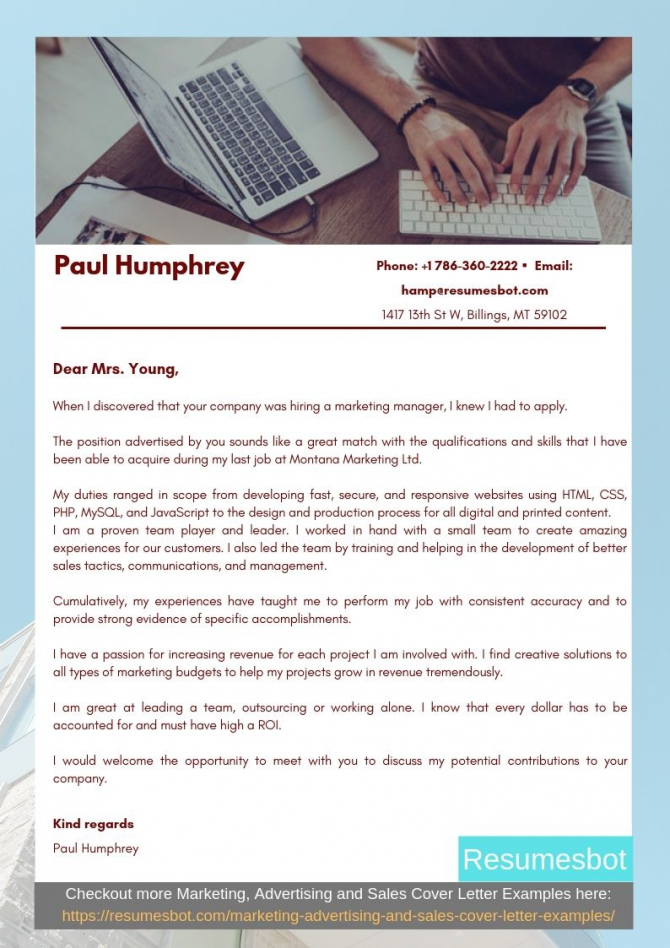 Marketing Manager Cover Letter Samples   Templates Pdfword