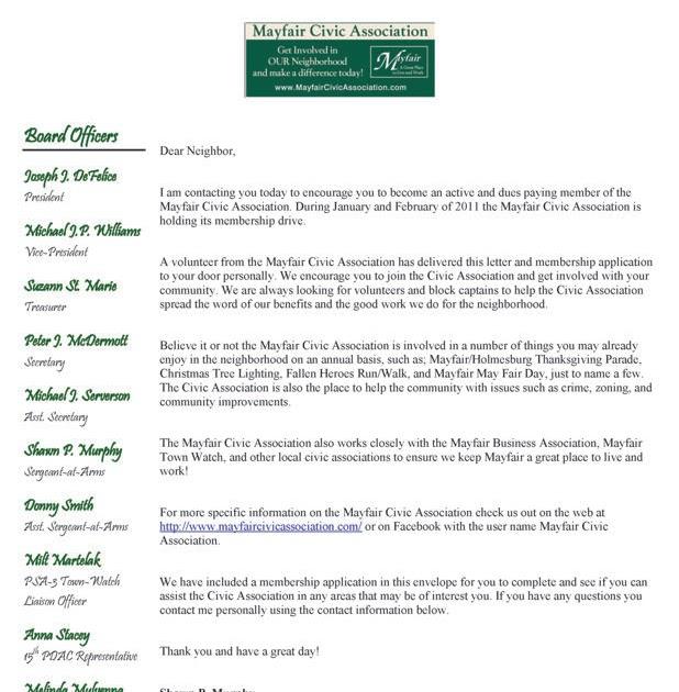 Mayfair Civic Association Mayfair Civic Membership Application