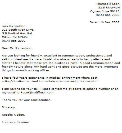 Medical Cover Letter Examples
