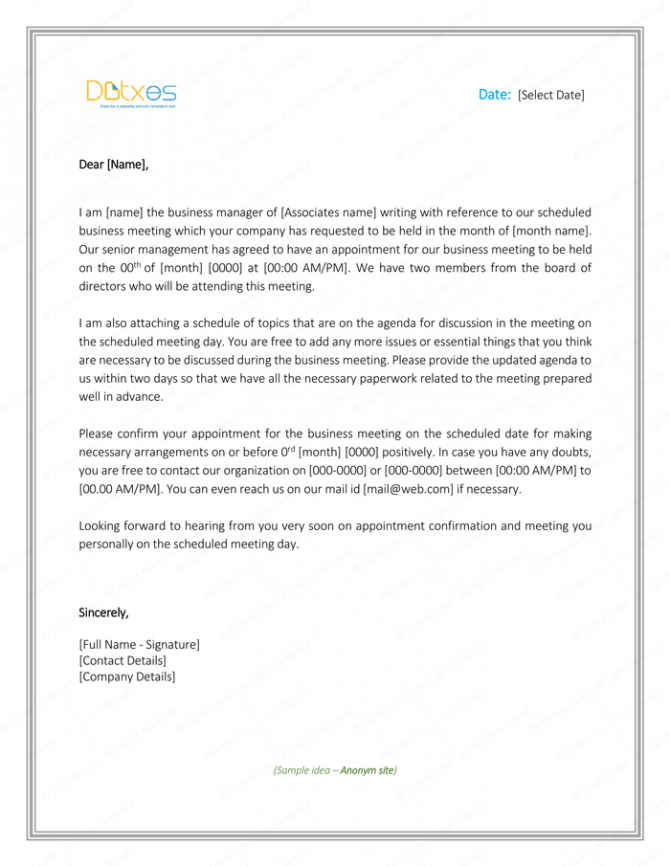 Meeting Appointment Letter Sample