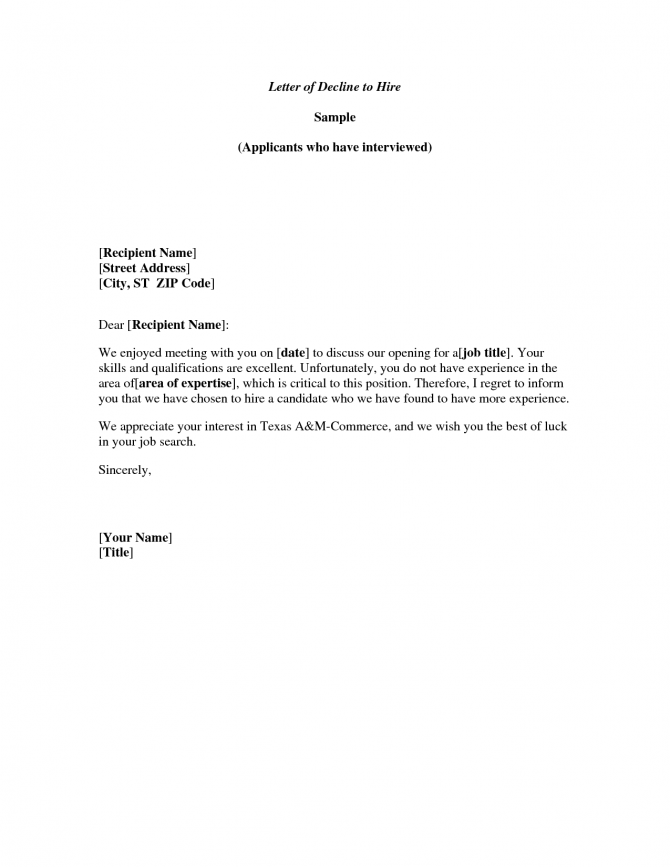 Meeting Decline Letter