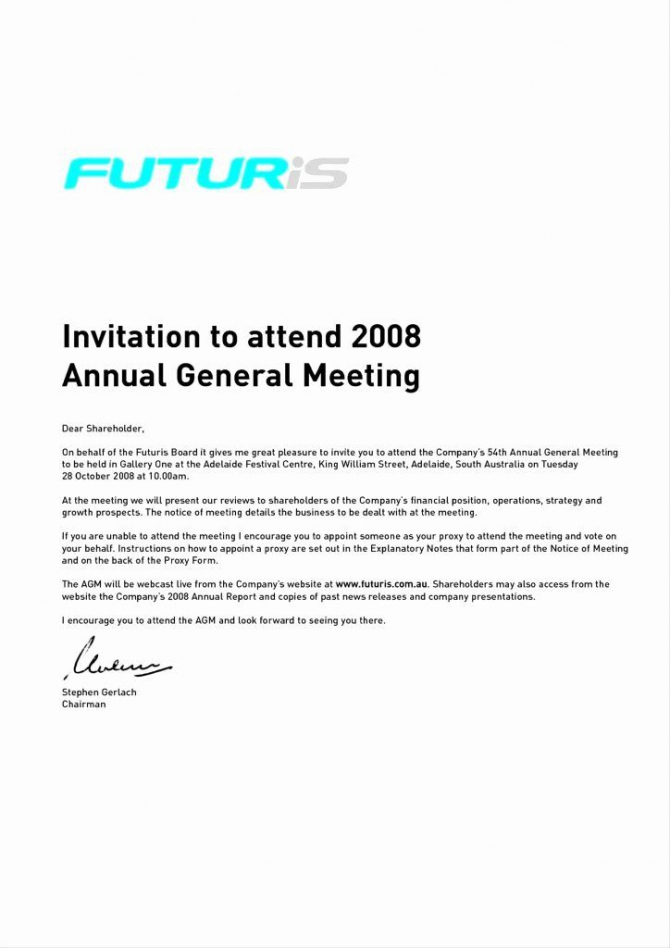 Meeting Invitation Email Template In