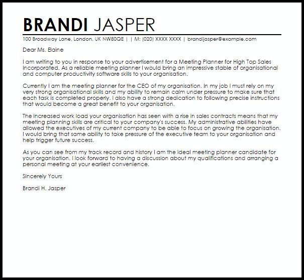 Meeting Planner Cover Letter Sample
