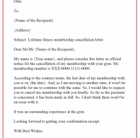 Notice Of Membership Cancellation Letter