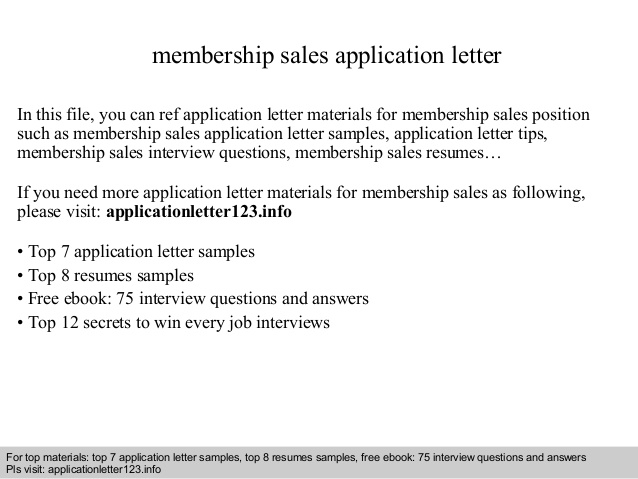 Membership Sales Application Letter