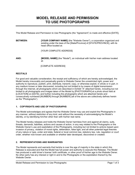 Model Release And Permission To Use Photographs