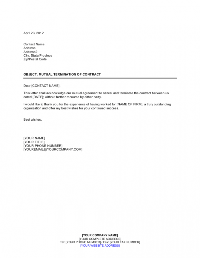 Mutual Termination Of Contract Template
