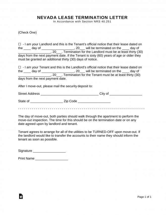 Nevada Lease Termination Letter