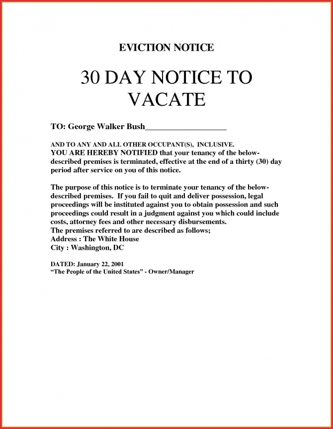 New  Day Notice To Vacate Letter Sample
