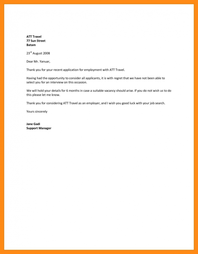 New Job Rejection Letter Template You Can Download For Full Letter