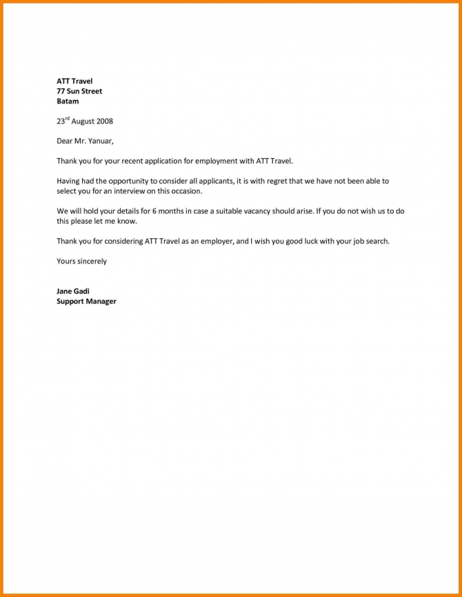 New Job Rejection Letters