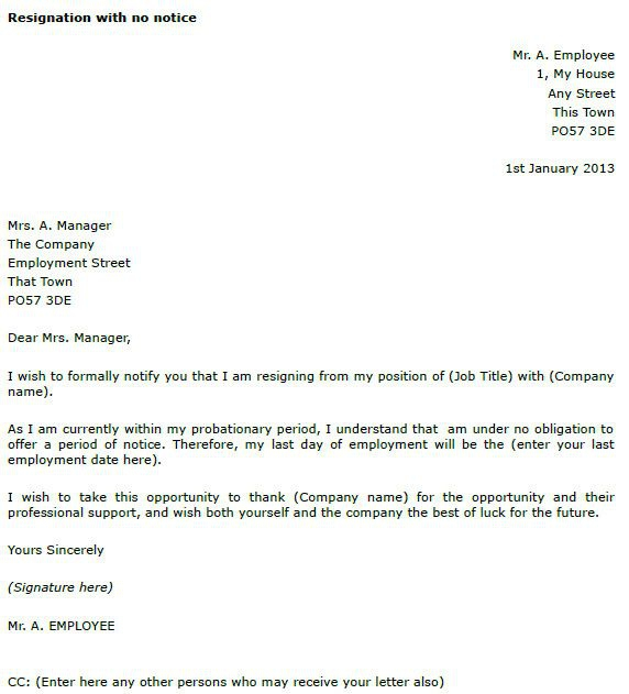 No Notice Resignation Letter Best Of Resignation Letter Example