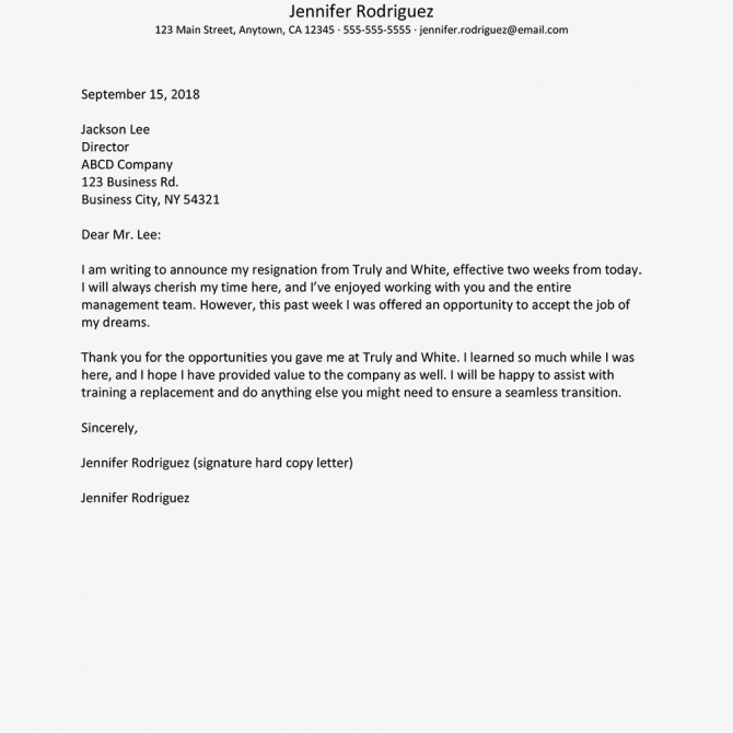 No Notice Resignation Letter Example And Writing Tips