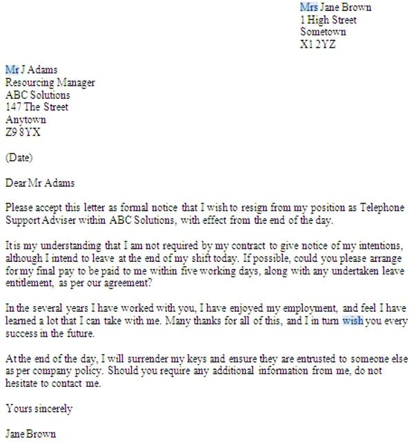 No Notice Resignation Letter Examples Pdf