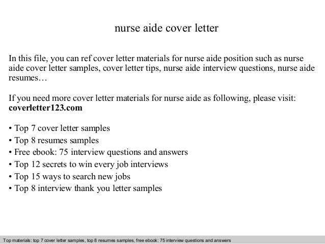 Nurse Aide Cover Letter