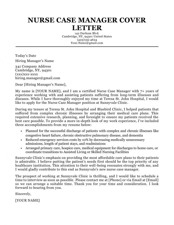 Nurse Case Manager Cover Letter Sample