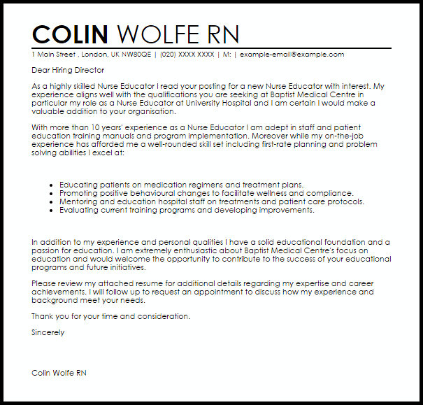 Nurse Educator Cover Letter Sample