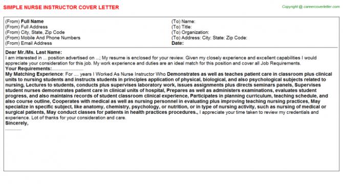 Nurse Instructor Cover Letter