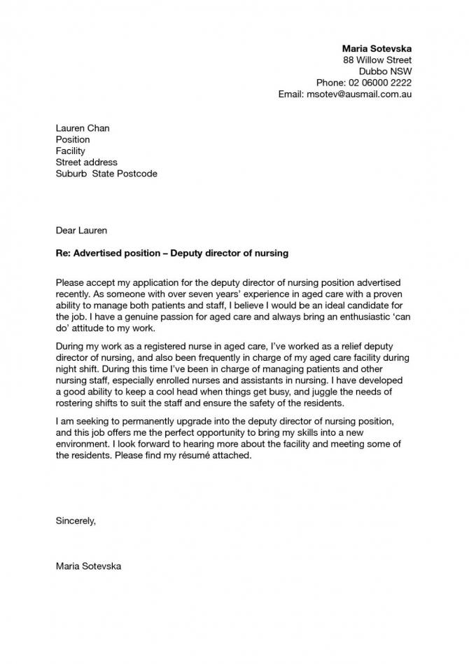 Nursing Student Cover Letter